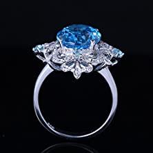 buy Etosell Hot Sell Women Solid 14Kw Nice Oval Cut Blue Topaz Diamonds Wedding Ring Sz6 5