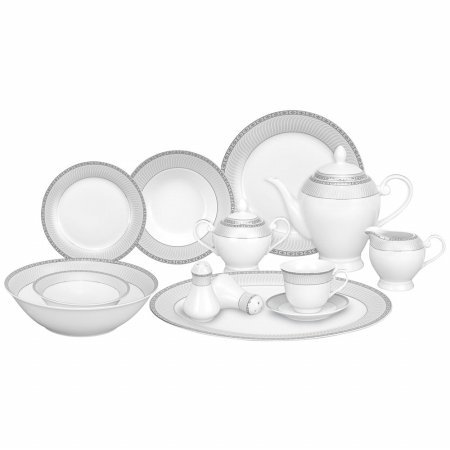 Lorren Home Trends 57-Piece Porcelain Dinnerware Set, Alina-SL, Service for 8 (Dinnerware Sets Service For 10 compare prices)