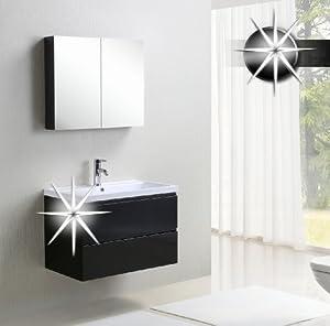 Set mobili da bagno - Mobili di bagno Anzio Nero lucido - MF802-HG-B ...