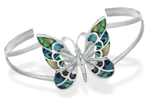 Silver Pave Shell Butterfly Bangle