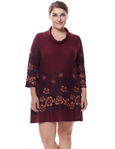 Chicwe Women's Cowl Neck Cashmere Touch Plus Size Tunic Dress with Rhinestone 16, Red (Cowl Cashmere compare prices)