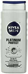Nivea For Men Platinum Protect Deodorizing Body Wash, Ocean Burst, 16.9-Ounce