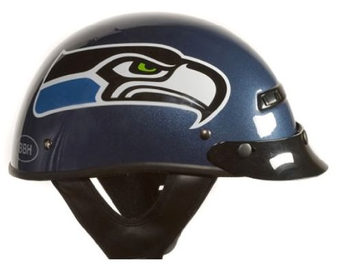 Brogies Bikewear NFL Seattle Seahawks Motorcycle Half Helmet (Blue, Medium) at Amazon.com