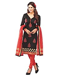 DHARM APPAREL Black colored chanderi silk Dress Materials