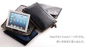 PRIME TAB クロコ型押しレザー ノートPC/タブレット対応クラッチバッグ バーガンディー