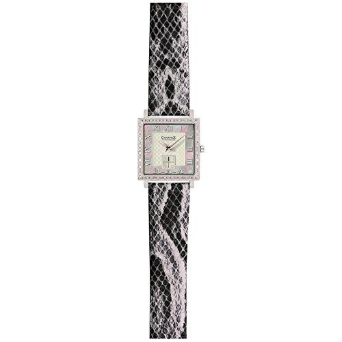 Charmex Paris Femme Noir Cuir Bracelet Acier Inoxydable Boitier Montre 6065