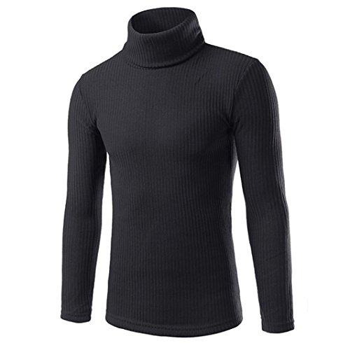 Amlaiworld Moda Casual alto colletto maglioni top camicetta (L, nero)
