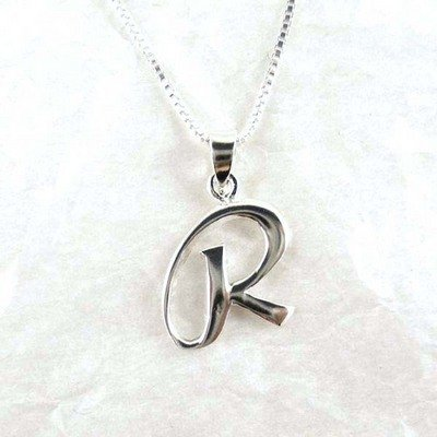 """Sterling Silver Initial Charm Necklace, Letter R, 18"""" Chain front-854639"""