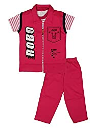 Little Buds Cotton Printed Red Top and pant Set Baby Wears
