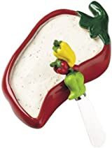 Boston Warehouse Chili Pepper Dip Bowl and Spreader Set