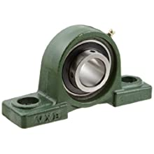 "UCP206-18 Pillow Block Mounted Bearing, 2 Bolt, 1-1/8"" Inside Diameter, Set screw Lock, Cast Iron, Inch"