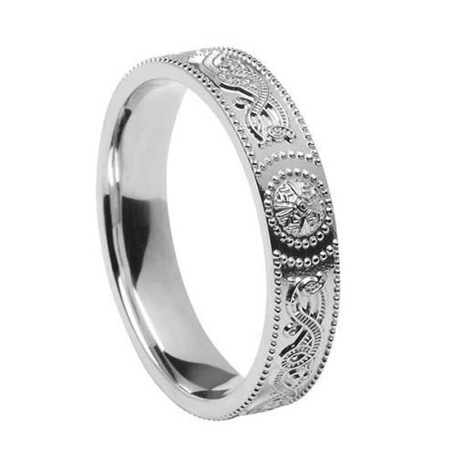 Unisex Warrior Shield Celtic Wedding Band-Silver-Size 13