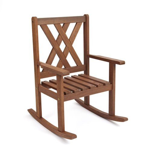 Children's Garden / Patio / Kitchen / Playroom Furniture - Acacia Wood Rocking Chair In Durable Chestnut Finish
