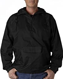 UltraClub® Adult 1/4-Zip Hooded Pullover Pack-Away Jacket - Black - 4XL