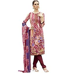 Shelina Women Maroon French Crepe Unstitch Dress Material With Stone Work