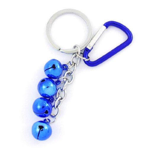 Spring Loaded Gate Carabiner Blue 4 Bells Pendant Keyring Keychain front-1035211