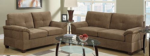 2-Pieces Sofa Loveseat in Truffle Finish by Poundex