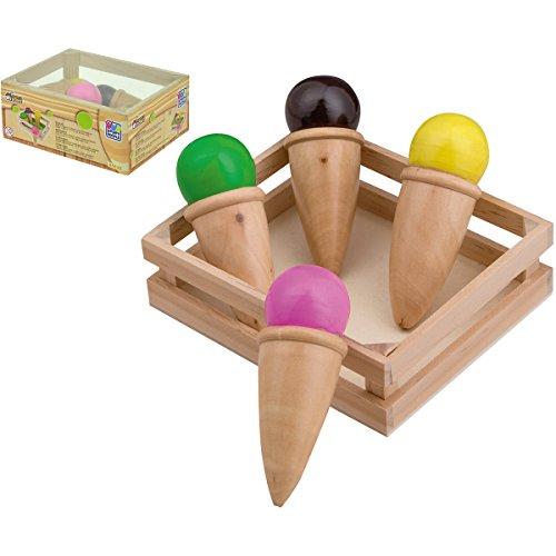 Eis im Hörnchen mit Kiste aus Holz, 13 x 11