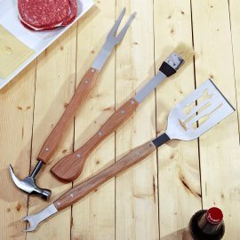 Dci BBQ Tools Set, Spatula/Wrench, Fork/Hammer, Brush/Tape