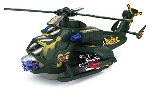 Toy Helicopter Battery Bump and Go Transforming Robot Battleship Battery Operated Kid's Bump and Go Toy Helicopter w/ Transforming Action, Flashing Lights, Sounds (Colors May Vary) (Battery Operated Helicopter compare prices)