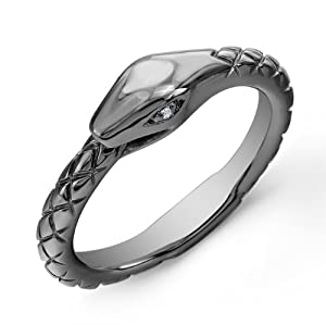 Victoria Kay White Diamond Accented Snake Ring in Black Rhodium-Plated Sterling Silver, Size 8.5 (J-K, I2-I3)