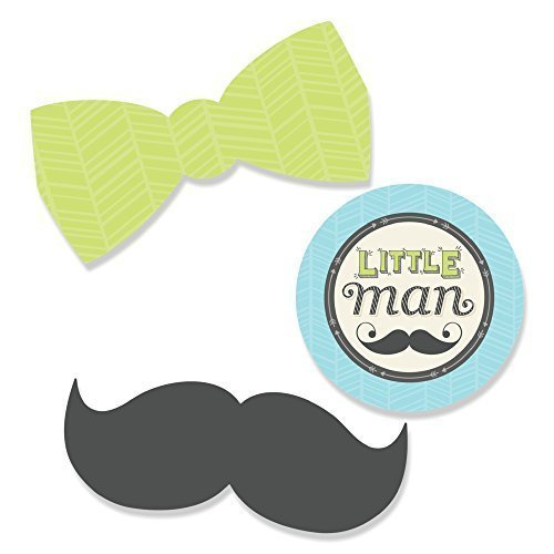 Dashing Little Man Mustache Party - DIY Shaped Baby Shower or Birthday Party Cut-Outs - 24 Count (Dashing Little Man Baby Shower compare prices)