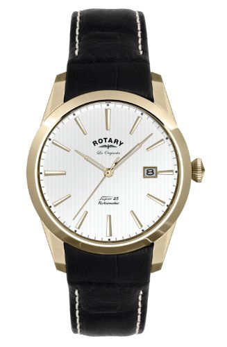 Rotary Men's Quartz Watch with White Dial Analogue Display and Black Leather Strap LE90004/02