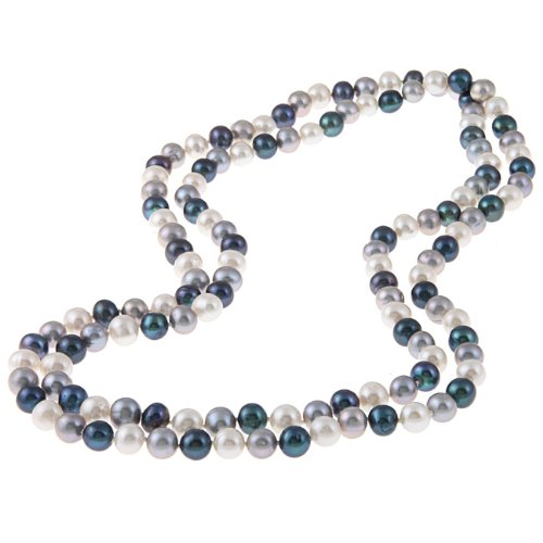 Dark Multicolor Freshwater Pearl 48-inch Necklace (9-10mm)