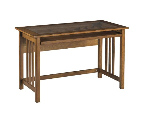 Buy Low Price Comfortable OSP Designs Mission Computer Desk In Oak with Glass Desk Top (B00292BQX2)