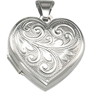 Genuine IceCarats Designer Jewelry Gift Sterling Silver Heart Shaped Locket. 17.50X08.00 Mm Heart Shaped Locket In Sterling Silver