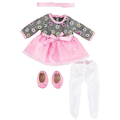 You & Me Friends 14 Inch Doll Outfit - Pink/Gray Floral Dress With White Tights front-884705