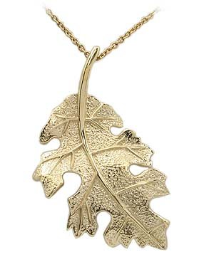 STERLING SILVER JEWELRY - Sterling Silver Gold Plated Leaf Necklace