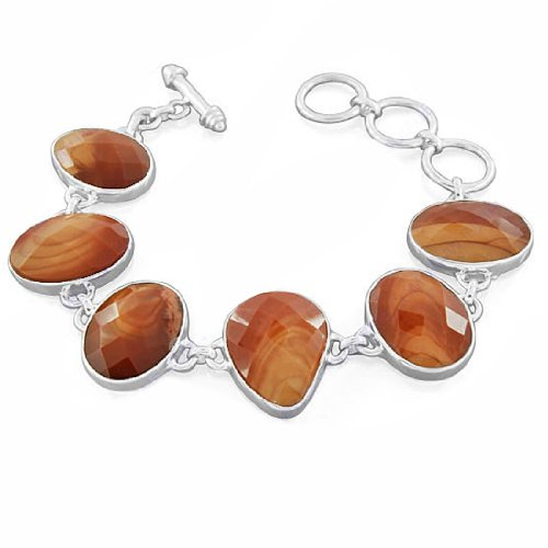 925 Sterling Silver Kona Dolomite Jasper Natural Gemstone Designer Costume Matching Antique Style Wedding & Party Wear Stand Link Bracelet Jewelry