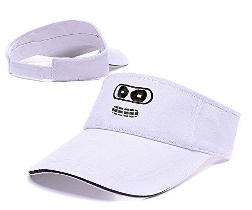 ZHHUA Futurama Bender Face Logo Adjustable Embroidery Tennis Golf Baseball Hat Sun Visor Cap White
