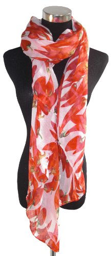Large Red and White Chilli, Chiffon Scarf or Sarong.