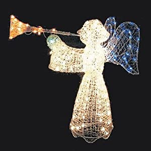 48 animated crystal 3 d angel with trumpet for Angel of the north christmas decoration