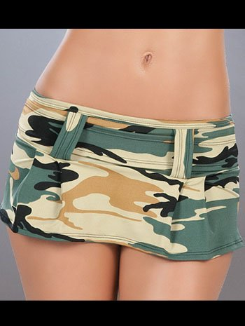 Amazing Camo Green Camouflage Mini Skirt With Belt
