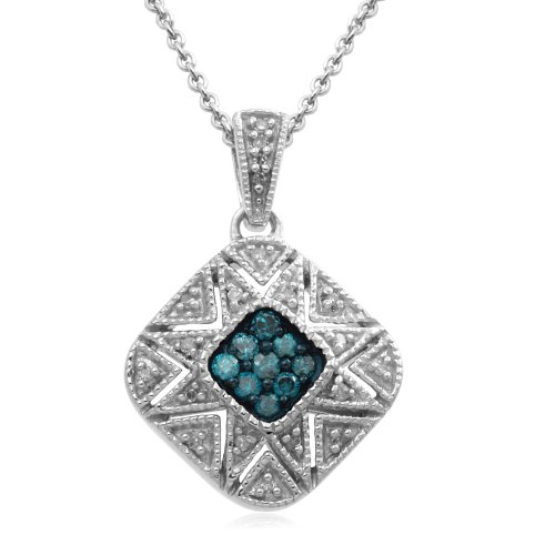 Sterling Silver Blue and White Diamond Square Pendant Necklace (1/6 cttw, I-J Color, I3 Clarity), 18