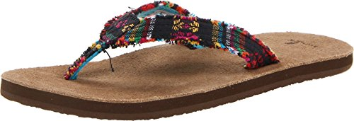 Sanuk Women's Fraidy Cat Flip Flop,Midnight Poncho,8 M US