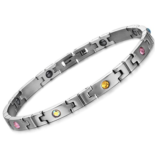 Opk Jewellery Fashion Cool Stainless Steel Link Chains For Women 7.7 Inch 5Mm Width With Colorful Rhinestone Cz And Energy Magnetic Stone Women'S Bracelet