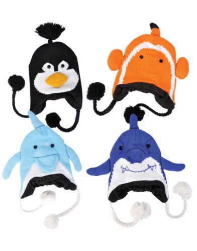 Set of 12 Hat Knit Winter Sea Life Ocean Animals Caps Toques Beanies Hats
