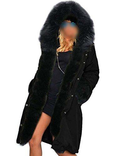 Donne Inverno Cappuccio Giacca Parka Cappotto Fodera Pelliccia Nero XXL