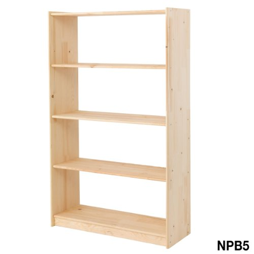 NATURAL PINE BOOKCASE 5 SHELVES, 1307H X 800W X 300MMMD