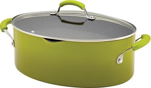 Rachael Ray Porcelain Enamel II Nonstick 8-Quart Covered Oval Pasta Pot with Pour Spout, Green Gradient