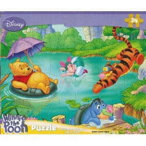 Disney Winnie the Pooh 24-Piece Jigsaw Puzzle (Summer Fun in the Lake) - 1