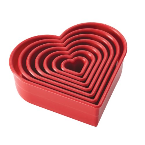 Cake Boss Decorating Tools 7-Piece Nylon Heart Fondant and Cookie Cutter Set, Red (Heart Cutters compare prices)