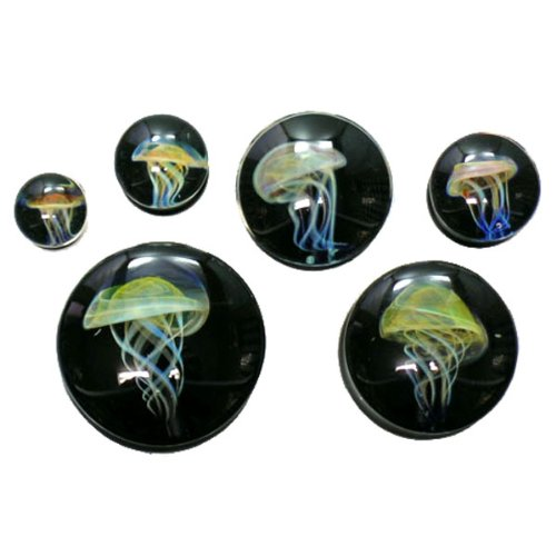 Black Background Amber Purple Jellyfish Plugs - Hand Made Glass Double Flare - 1