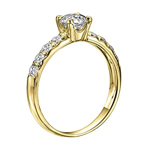 GIA Certified 14k yellow-gold Round Cut Diamond Engagement Ring (1.00 cttw, F Color, VS2 Clarity)