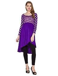 Folklore Women's Asymmetrical Hemline Kurta (FOKU001574_Purple_Large)