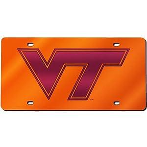 Virginia Tech Laser Cut Inlaid Mirror Tag Orange by Craftique